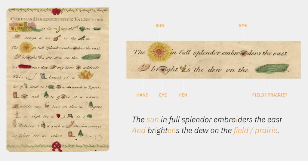 19th century Rebus Valentine Letter.