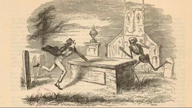 Cartoon of man chasing skeleton.